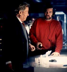Legendary actor Peter O'Toole on the set of Phantoms with Director of Photography Richard Clabaugh